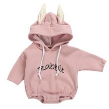 Todder Kid ubrania dla noworodków dziewczyna chłopiec królik list bluza topy wiosenne jesienne ubrania swetry body kostiumy dla dzieci tanie tanio MUQGEW COTTON Cartoon O-neck Pajacyki Unisex Pełna Todder Kid Baby Girl Boy Rabbit Letter Sweatshirt Tops Romper Pullover