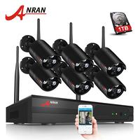 ANRAN Plug And Play 8CH CCTV System Wireless NVR Kit 1TB HDD P2P 720P IP Camera