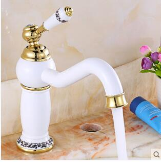 Free shipping New Arrivals White and gold Brass Basin Faucet Bathroom Sink Faucet Basin Mixer Tap Hot and Cold Water Tap ...