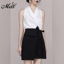 цена на Max Spri 2019 New Women Two Piece Sets Fashion V Neck Sleeveless White Top Sexy Office With Lace Up Mini Black Skirt Casual Sets
