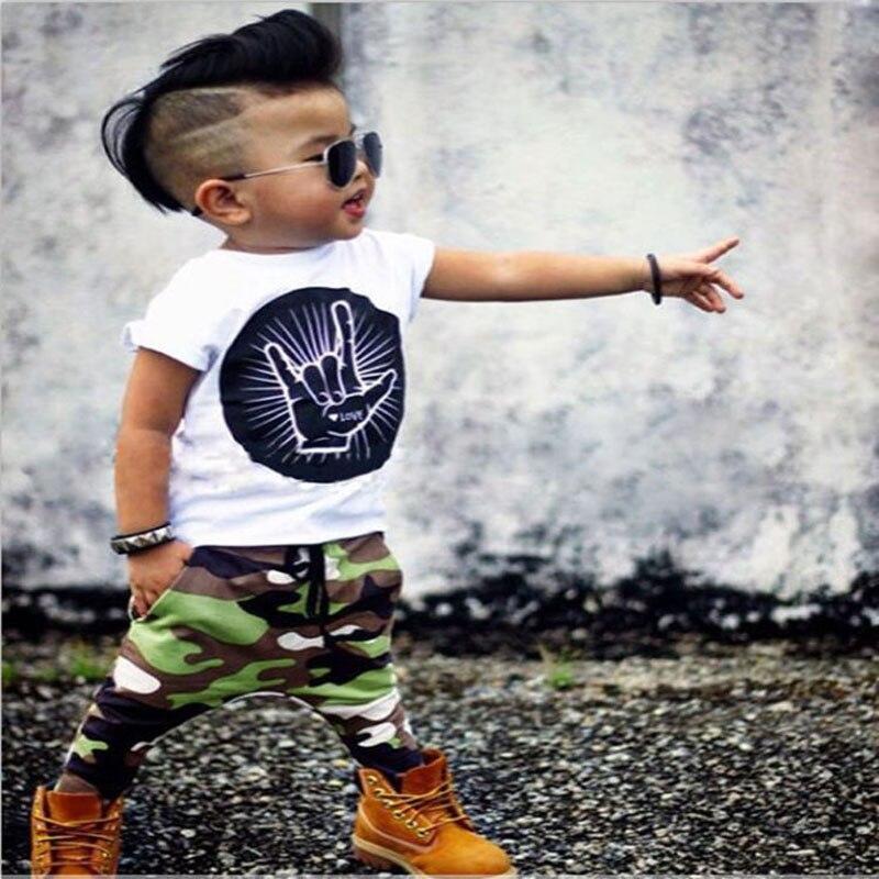2017 Summer baby Kids fashion newborn baby boy clothes cartoon Short sleeve T-shirt+Camouflage pants 2pcs Infant clothing set