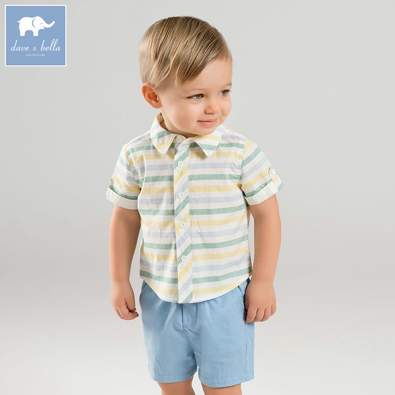 DB7330 dave bella summer baby boy s striped clothing sets children infant toddler suit kid s