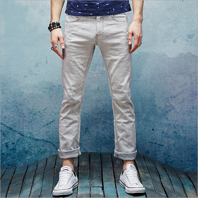 Elastic jeans spring and summerl fashion men jeans linen cotton jeans men new elastic cotton and linen male