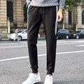 2017 весна осень хип-хоп стиль белые Полосы печатных шаровары брюки мужские спортивные штаны для мужчин Шнурки Брюки Черный