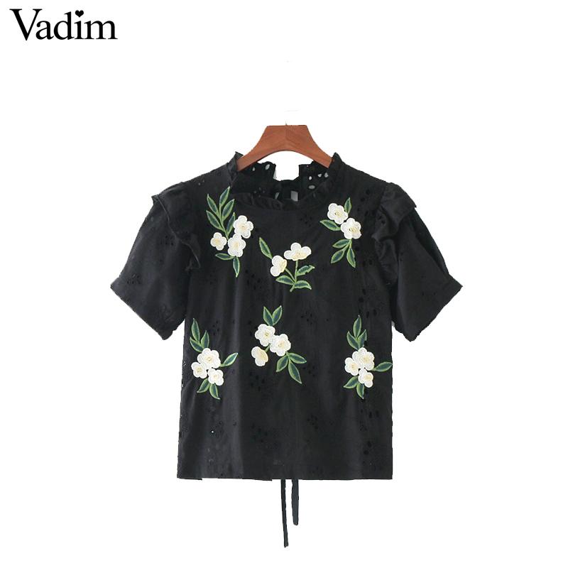 HTB1owI1QFXXXXXHXXXXq6xXFXXXt - women sweet ruffles floral embroidery short sleeve tops blusas