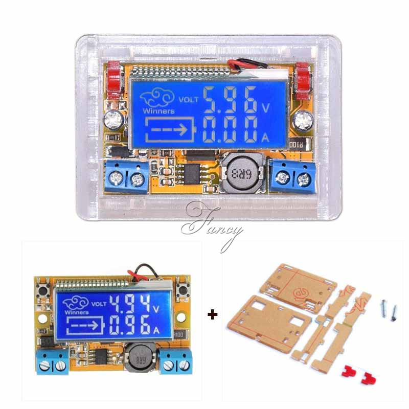 DC-DC Adjustable Step-down Power Supply Module Voltage Current LCD Liquid Crystal Displays 5-32V With Acrylic Case