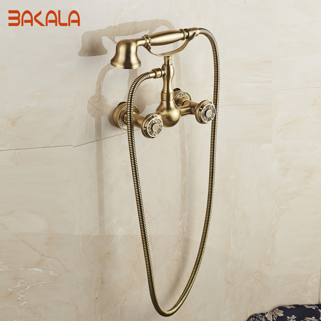 Wall Mounted Two Handles Antique Br Finish Kitchen Sink Bathroom Basin Faucet Mixer Tap