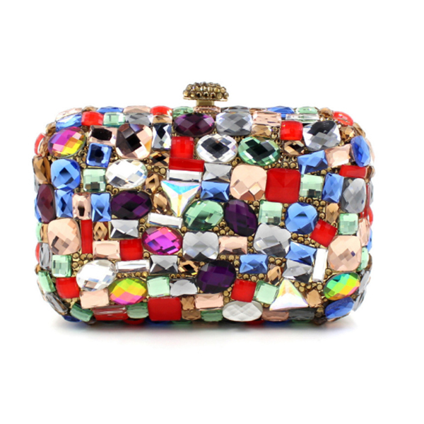 colorful Evening Clutch Bags Women Wedding Party crossbody Bags Retro Shoulder Bags Ladies Day Clutches Diamond Chains Handbag retro 2017 floral beaded handbag women shoulder bags day clutch bride rhinestone evening bags for wedding party clutches purses