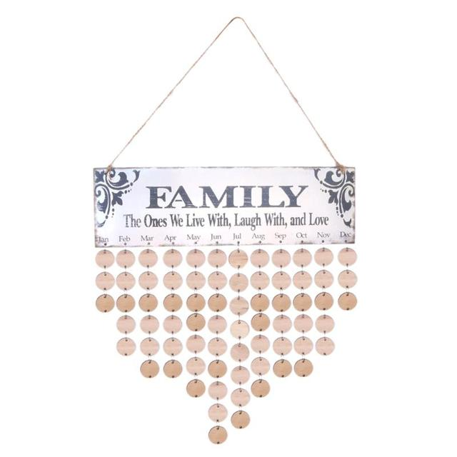 Birthday Calendar.Us 8 8 39 Off Alloyseed 2018 Wooden Family Birthday Calendar Wood Diy Wall Hanging Specical Date Sign Reminder Planner Board Home Decor Gift In