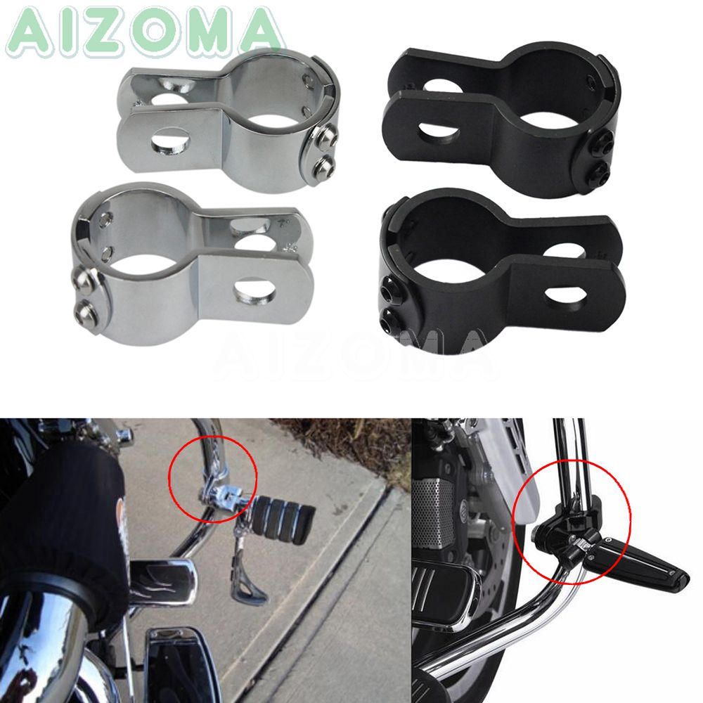 """1-1//8/"""" CHROME 3 PIECE 1//2 BOLT MOTORCYCLE FRAME CLAMP EXHAUST FOOT PEGS LIGHTS"""