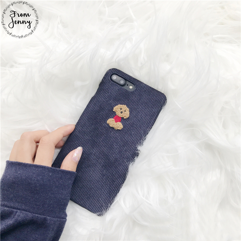 From Jenny Winter Fabric Phone Case For iPhone 6 6S 7 8 Plus 6splus X Cute 3D Cartoon Soft Cloth Back Cover Free Shipping