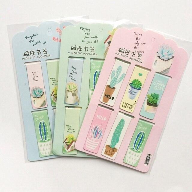6 unids/set verde plantas Cactus marcadores magnéticos libros marcador de página de papelería pegatinas de la Oficina de la Escuela de Clips de papel