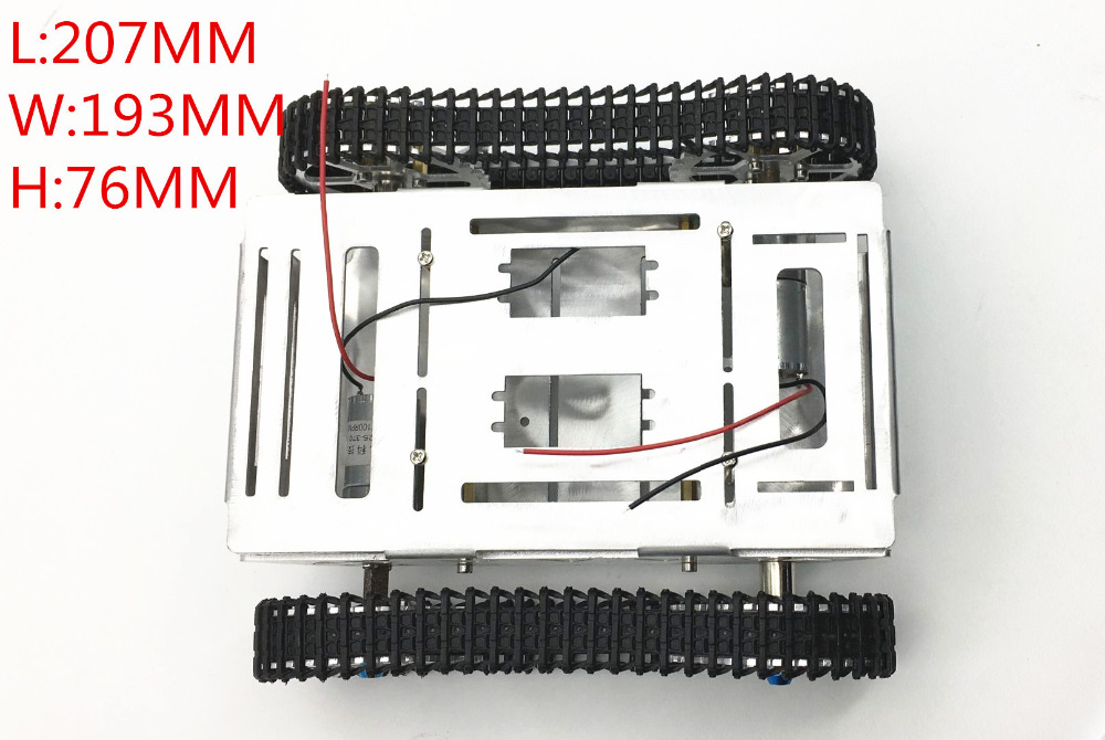 DIY Crawler Robot Chassis Aluminium Alloy Tank Car Chassis Bottom Intelligent Toy Accessory Parts 207mm x 193mm x 76mm 83mm rubber wheels tire intelligent tracking car chassis diy robot toy car accessories