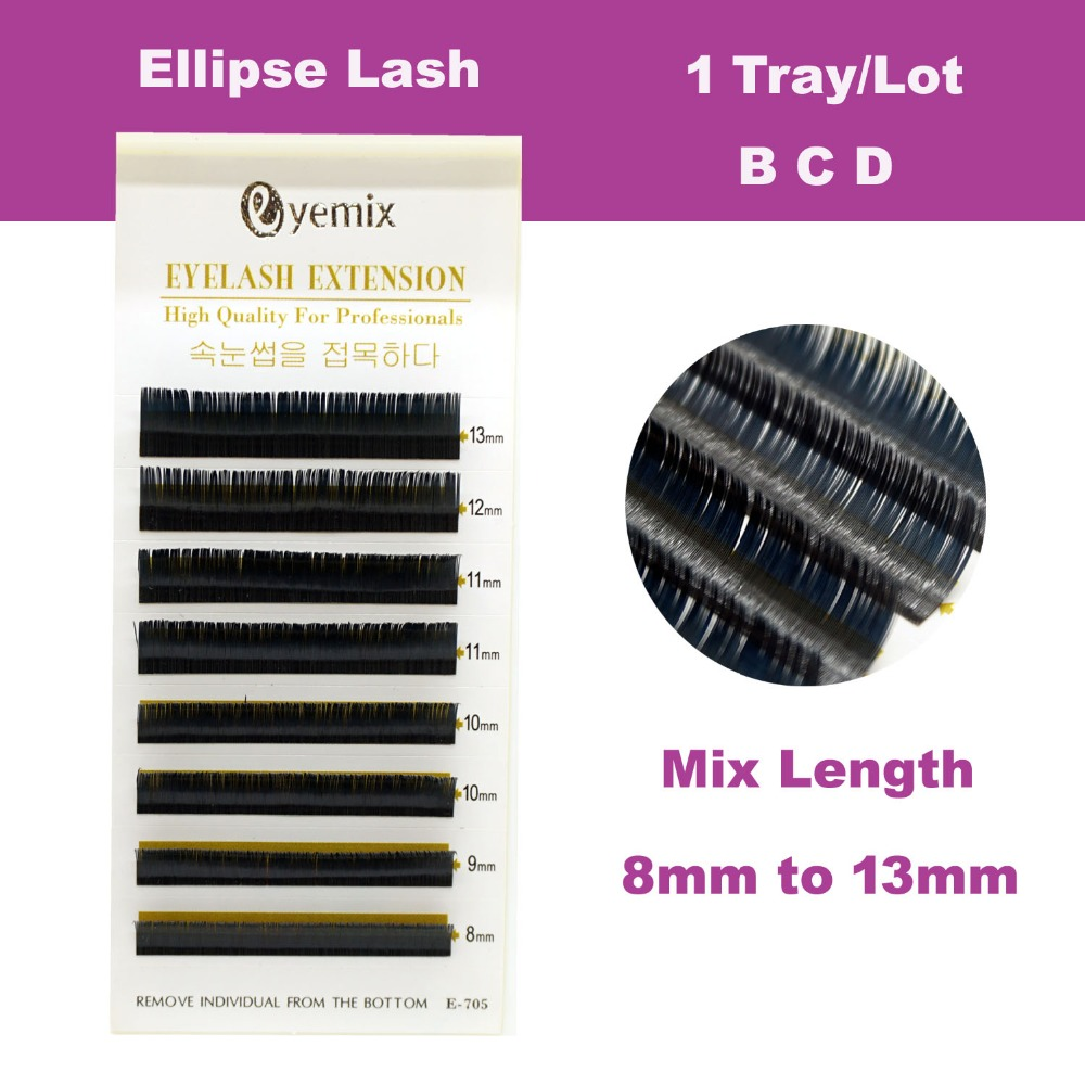 Mix Length Ellipse Flat False Eyelash Extensions Soft Thin Tip Flat Roots New Products Saving Time Recomended by Technicians