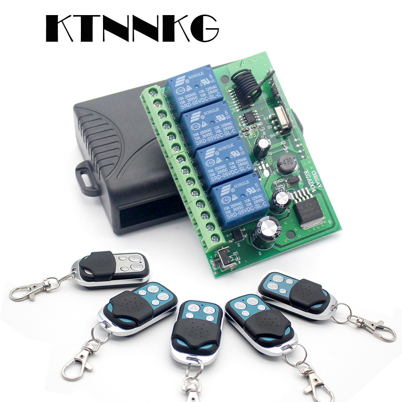 KTNNKG AC/DC 12V 24V 10A Wireless Remote Switch 4CH Relay Module Receiver And EV1527 RF Transmitter 433Mhz Remote Controls
