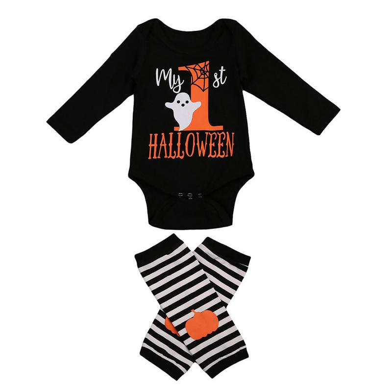 Halloween Baby Cotton Romper Newborn Boys Girls Pumpkin Romper+Leg Warmers 2PCS Fall Costume Outfits Body Suit For Newborns