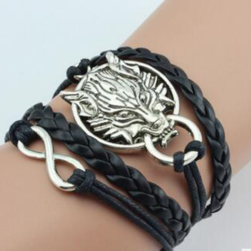 SPINNER New Fashion Multilayer Bracelet Beauty and Wolf 8 Word Infinite Double Leather Charm Bracelet for Men Woman Jewelry Gift