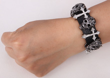 Black leather skull cross bracelet for women