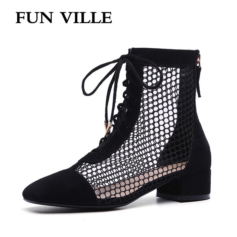 FUN VILLE 2018 New Fashion Summer women Ankle Boots sheep suede or Patent leather High Boots