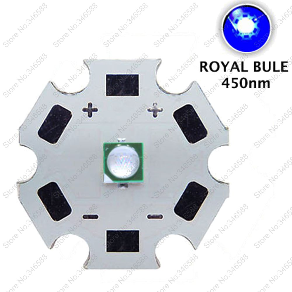 10pc 3W 450nm Royal Blue Color 3535 Epileds High Power Plant Grow LED Light Emitter Diode on 8mm/12mm/14mm/ 16mm / 20mm Star PCB 10w high power led 460nm blue color 460nm led beads by 45mil epileds free shipping