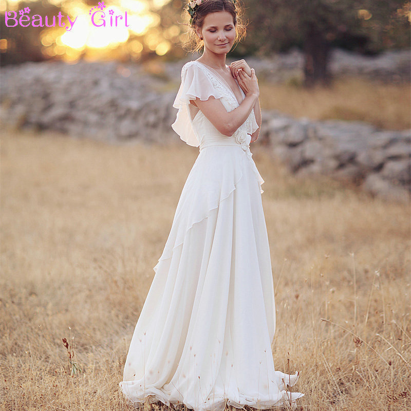 Romantic white v neck open back short sleeve flower a line for Bohemian white wedding dress