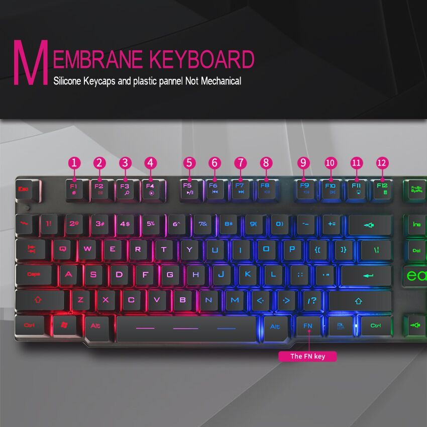 Gaming Keyboard Gamer Mechanical Imitation Keyboard Gaming RGB Keyboard with Backlight Ergonomic Key Board 104 Keycaps for PC