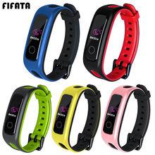 Fifata pulseira de silicone para huawei banda 4e/3e pulseira de relógio inteligente pulseira esportiva para huawei honor band 4 running versão