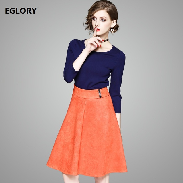 69ddefa731 Boutique Clothing New Fashion Autumn Winter 2017 Ladies Dark Blue Cotton  Tops T Shirt+Orange Swing Skirt Set 2 Piece Suit Woman