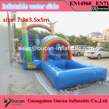 7.3×3.5x5m PVC tarpaulin children inflatable water slide with pool for kids, inflatable water slides for sale