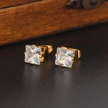 Luxury Fashion Design 24k Solid Fine Yellow Gold Filled Cubic Zirconia Square Wedding Stud Earring