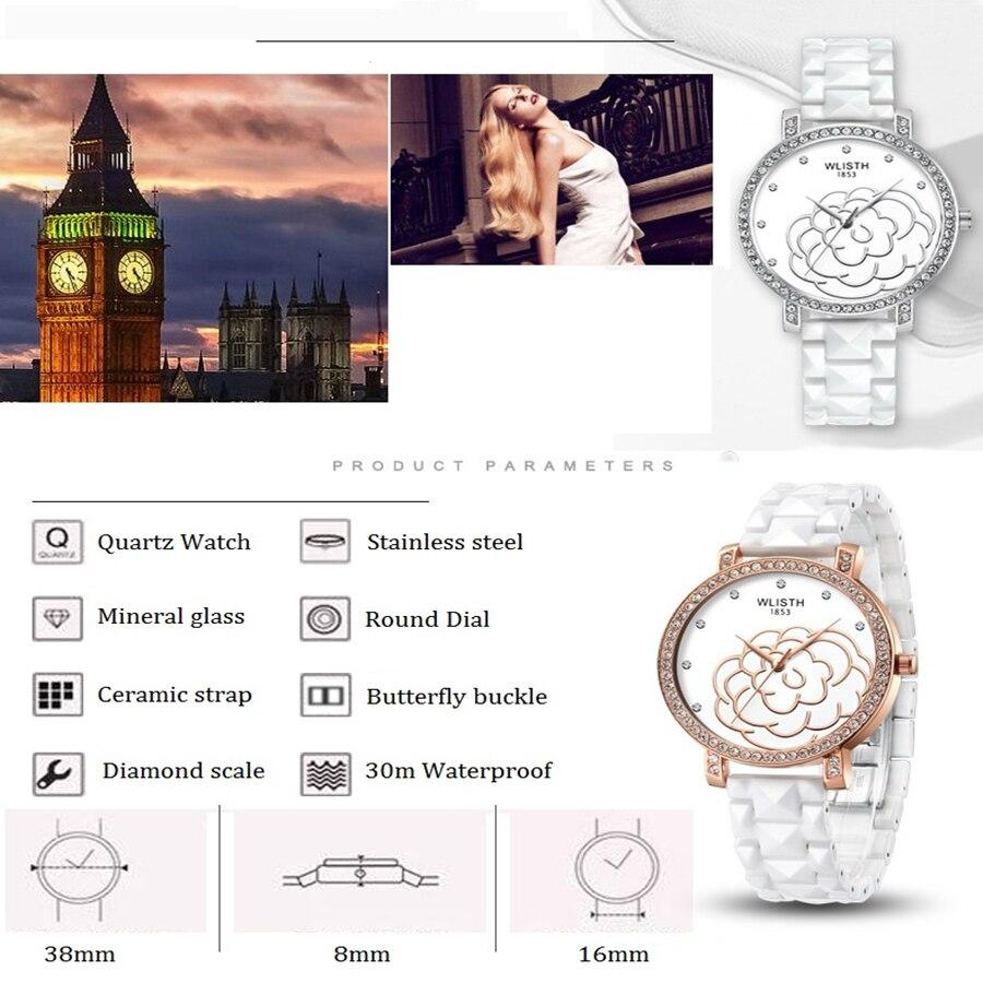 Элегантный из белой керамики часы пары оболочки аналоговые наручные часы Неделя Календарь Мужские Кристаллы часы кварцевые часы браслет ж... - 5