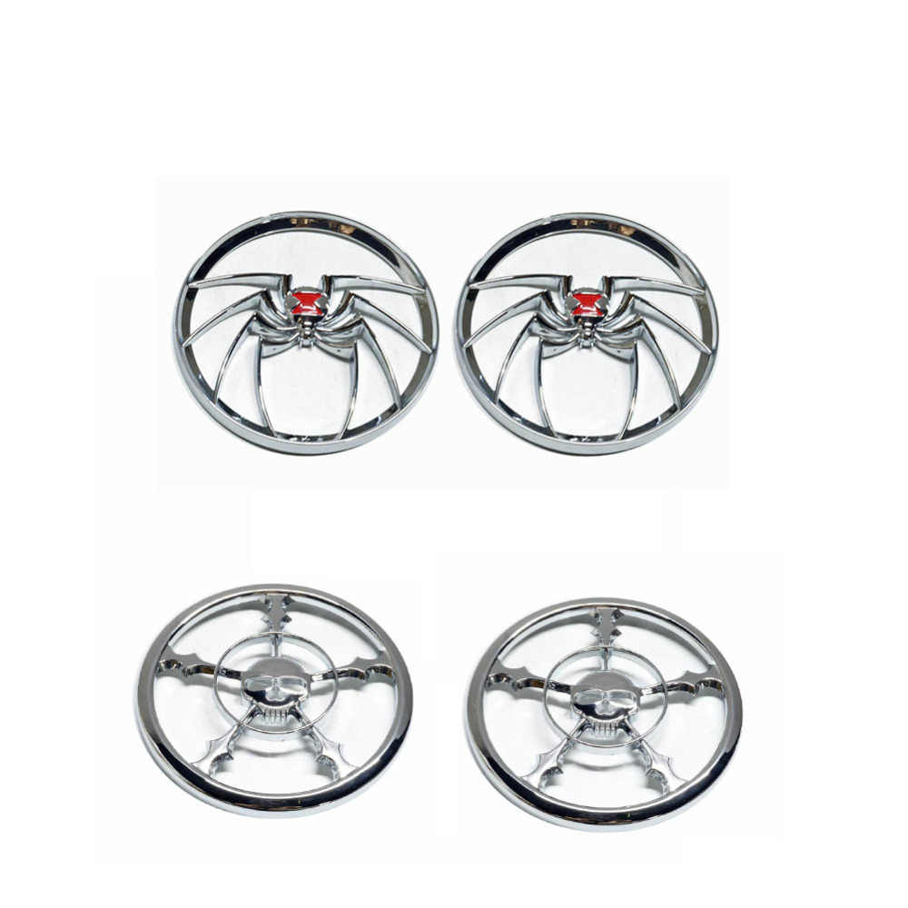 Pair Black Spider Speaker Covers for 1996-2013 Harley Electra FLHT Street Glides