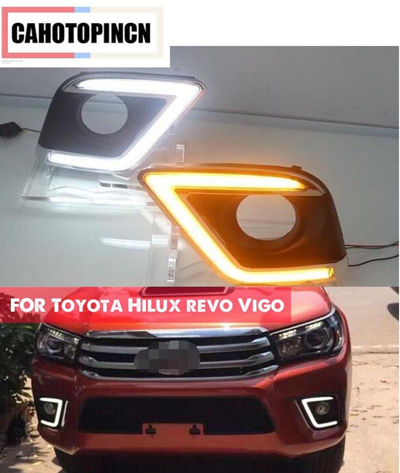 Acheter Pour Toyota Hilux revo Vigo 2015 2016 clignotants style Relais 12 V Voiture DRL LED Feux Diurnes Daylight avec feu de brouillard trou de car drl fiable fournisseurs
