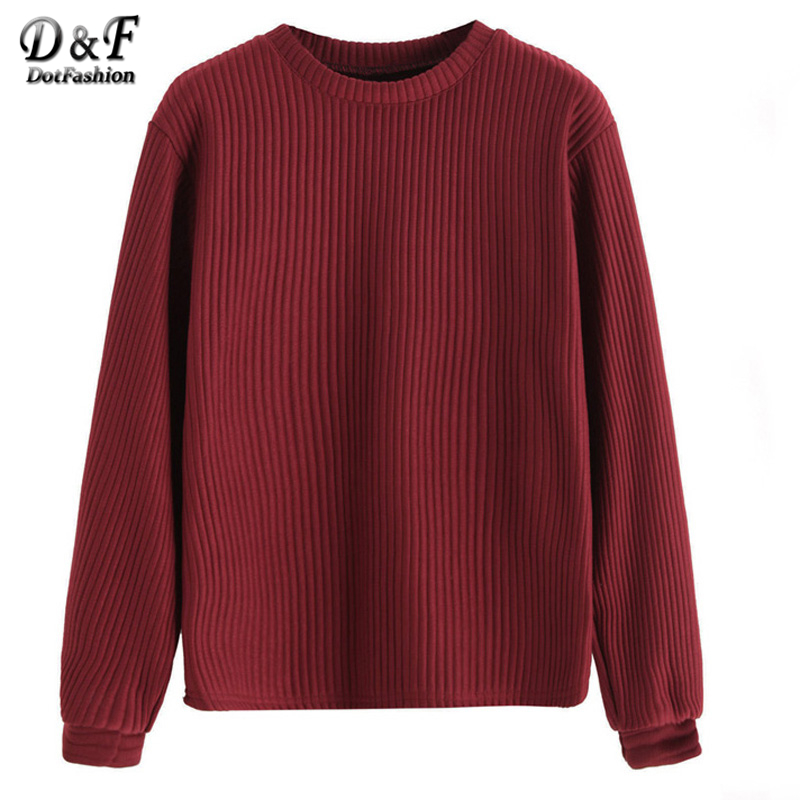 Dotfashion <font><b>Ribbed</b></font> Drop Shoulder <font><b>Sweatshirt</b></font> Women Autumn <font><b>Burgundy</b></font> Basic Pullovers 2017 <font><b>Long</b></font> <font><b>Sleeve</b></font> Round Neck <font><b>Sweatshirt</b></font>