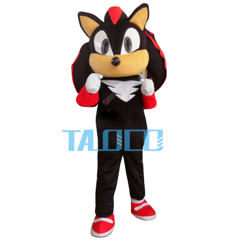 Shadow the Hedgehog Black Sonic Mascot Costume Fancy Dress Adult Free Shipping