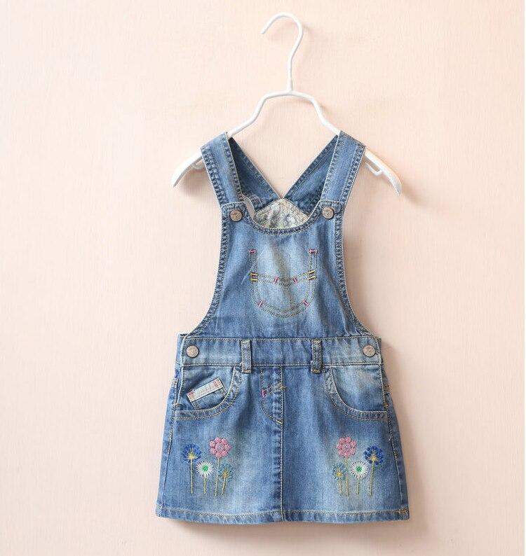 2016 Baby Girls Denim Sundress Floral-embroidery Suspender dress Kids Fashion
