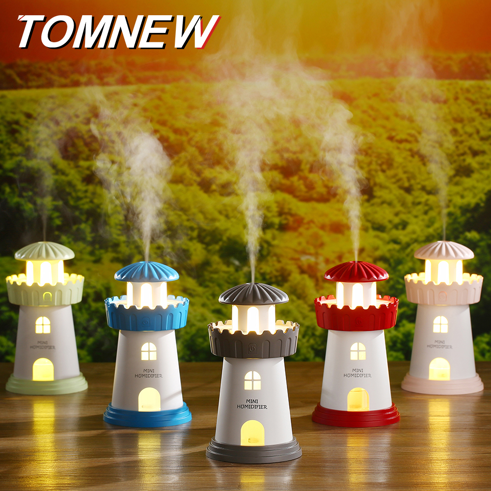 TOMNEW USB Mini Cool Air Humidifier 150ML Portable Ultrasonic Tower Air Clean Diffuser with LED Night Light for Home Office Car