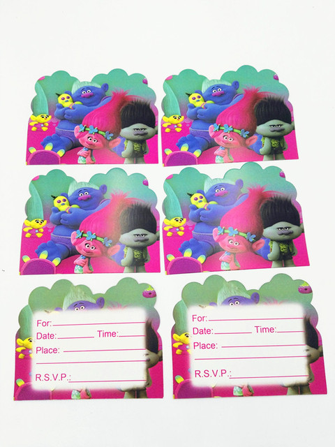 10 Pcs Lot Trolls Invitation Cards Kids Favor Birthday Party