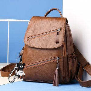 Image 4 - Vintage Tassels Backpack New Women Retro PU Leather Rucksack Big Capacity School Bag For Teenager Girl Travel Bolsas