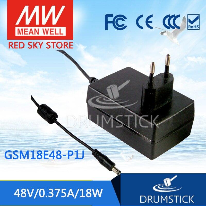 Подлинная meanwell MEAN WELL GSM18E48-P1J 48 В 0.375A GSM18E 48 В 18 Вт AC-DC Высокая Надежность Медицинской Адаптер
