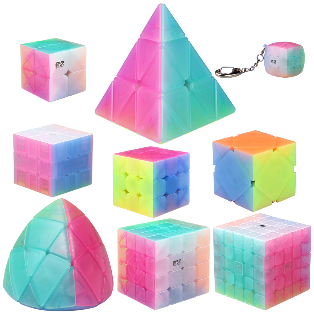 Girls Toys QiYi Jelly Cube Set Including Pyramid SQ-1 Mastermorphix 2x2 3x3 4x4 5x5 Magic Cube Kits Gift Package