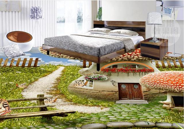 Papel De Parede 3d Europeu Creative 3d Floor Wallpaper Blue Sky And White  Clouds Soundproofing Bedroom