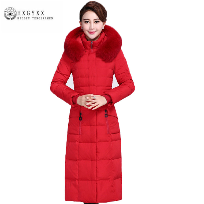 middle-aged Women Down jacket Fashion Thick Big yards Winter Outerwear New fur collar Hooded pure color Long Female Parka ZX0184