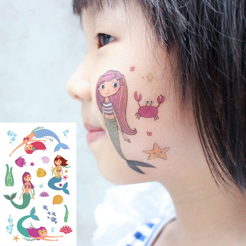 12PC Children's Temporary Body Art Fake Tattoos Waterproof Stickers Paper Cartoon Mermaid Dinosaur Tattoo Sticker For Kids