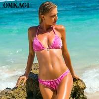 OMKAGI Brand Solid Swimwear Women Swimsuit Brazilian Bikini 2017 Sexy Push Up Swimming Bathing Suit Beachwear