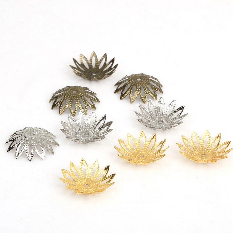 3*17 мм 100 шт./лот гладить цветок Конец полые цветок из бисера шапки ювелирных изделий Аксессуары DIY FDA016-01