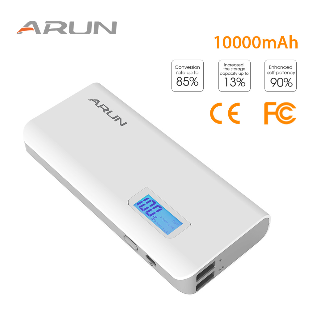 ARUN 10000mah Y615 Dual USB with LCD display High-speed Charging Technology Power Bank For Samsung Galaxy S6 / S6 Plus / Note 5
