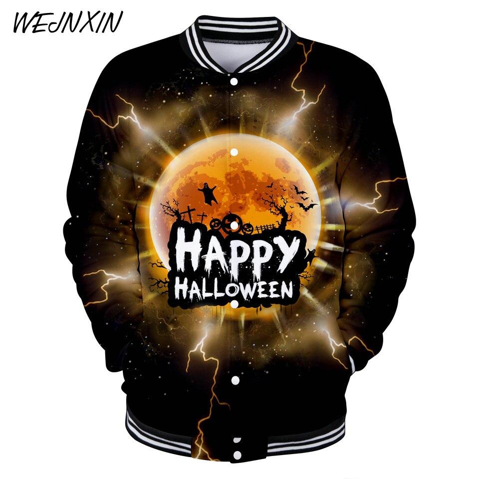 VAGROVSY 2018 Happy Halloween 3D Baseball Jacket Men Women Pumpkin Face Cosplay Hoodies Funy Halloween Horror Sweatshirt