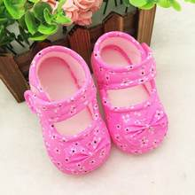 2017 new Spring/Autumn Yellow Pink Sky Blue Kids Baby Bowknot Printing Newborn Cloth First Walkers Girls and boys Shoes(China)