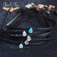 Jin Ju Jewelry 925 Sterling Silver Women Girl Jewelry Simple 5 Design Water Drop Leather Chokers